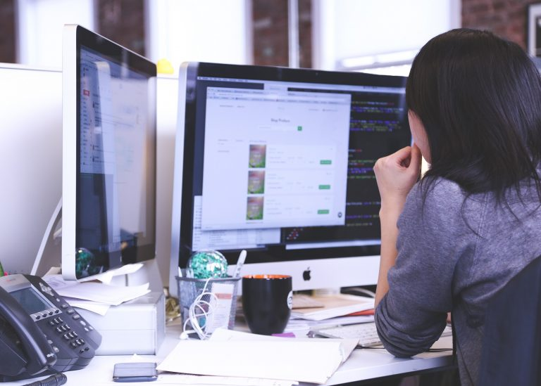 girl using computer, internet providers