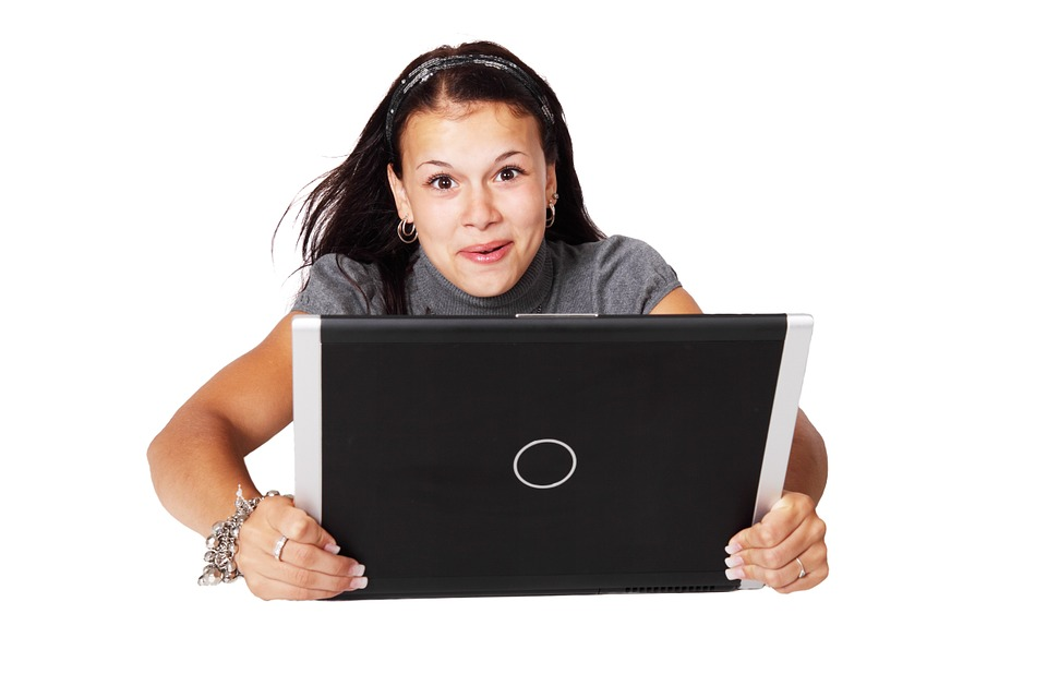 girl on laptop with fast home internet